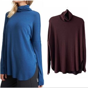 Kit and Ace Burrow Turtleneck Burgundy Brushed French Terry
